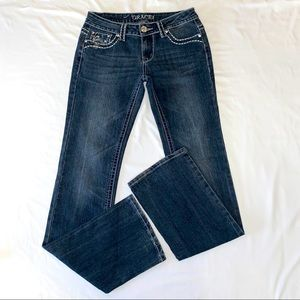 Grace in LA Denim Blue Jeans EUC Bling pocket 27